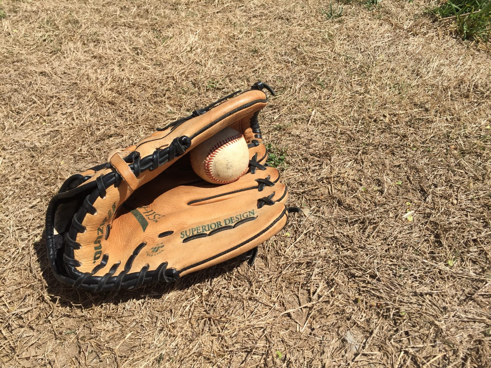 A baseball glove holding a ball and lying on the ground.