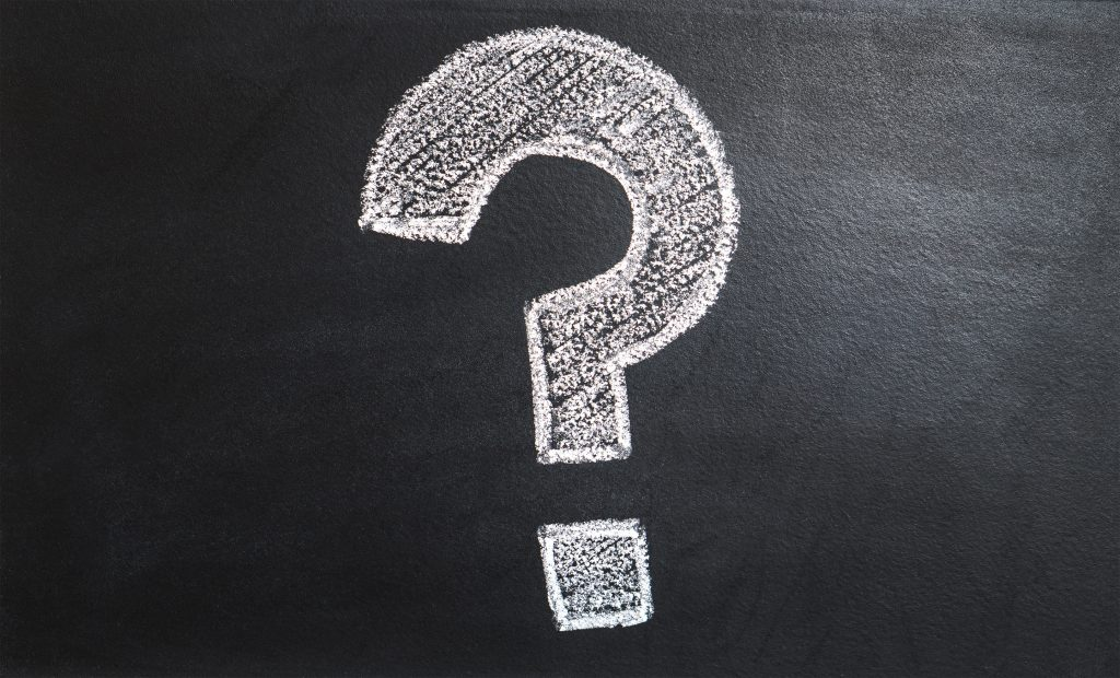 A question mark on a black background. Reflects the question, what bat juicing is.